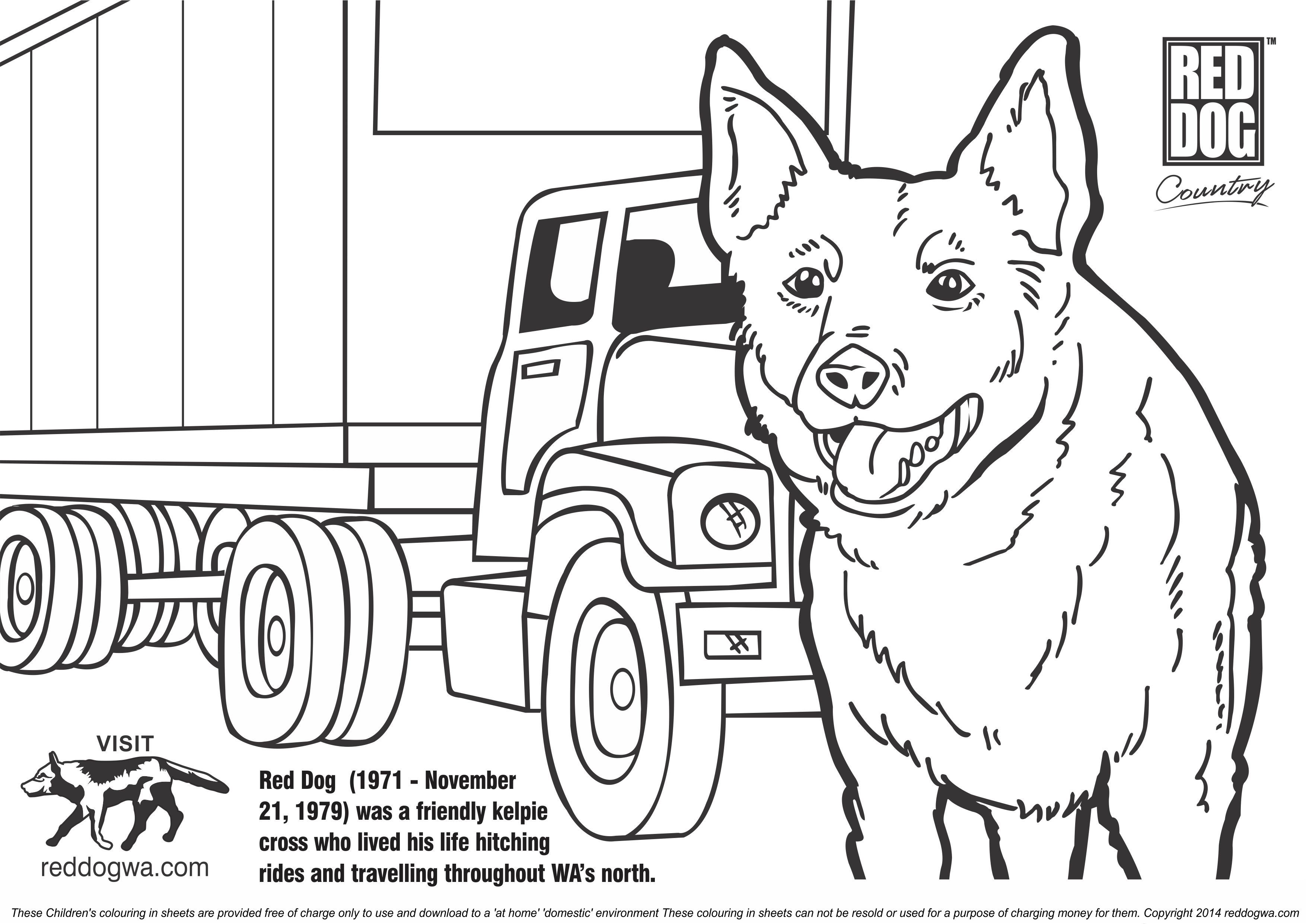 Free red dog colouring in pages for for Red coloring pages