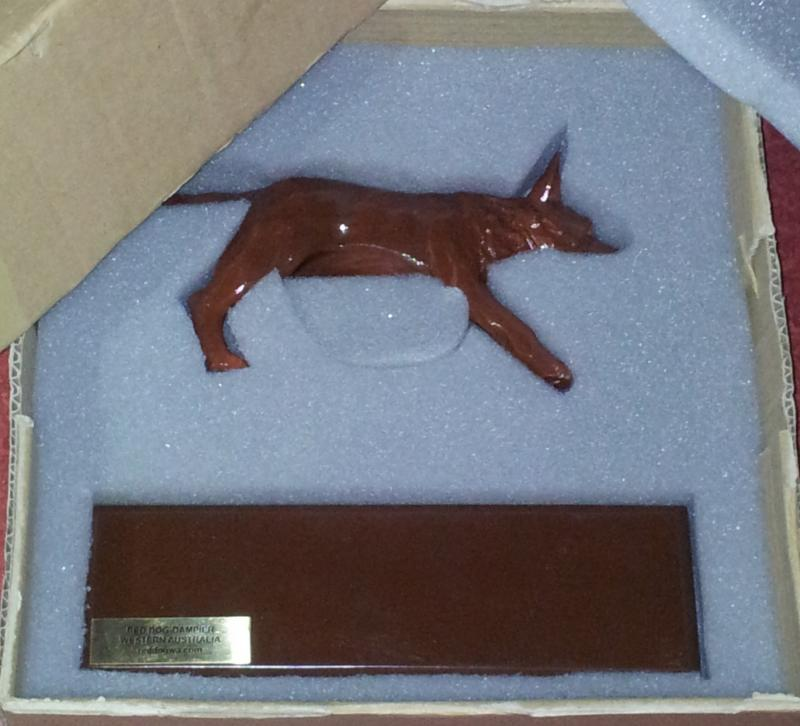 Red Dog Statuette Box ready for Delivery